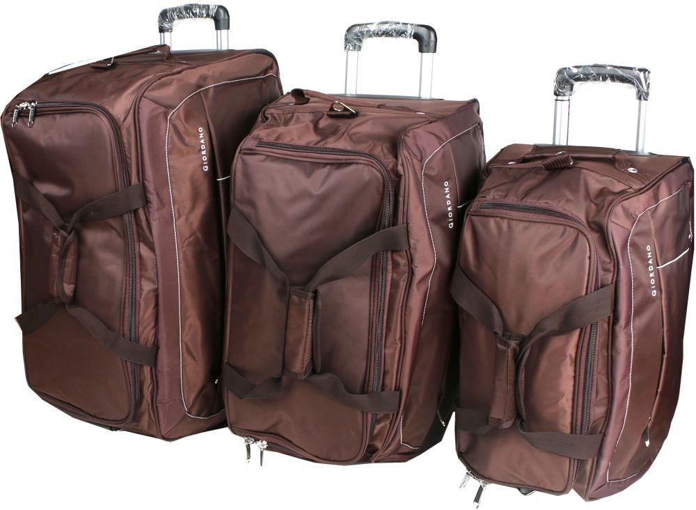 جيوردانو طقم حقائب سفر بعجلات للجنسين, 3 قطع - بوليستر , بني