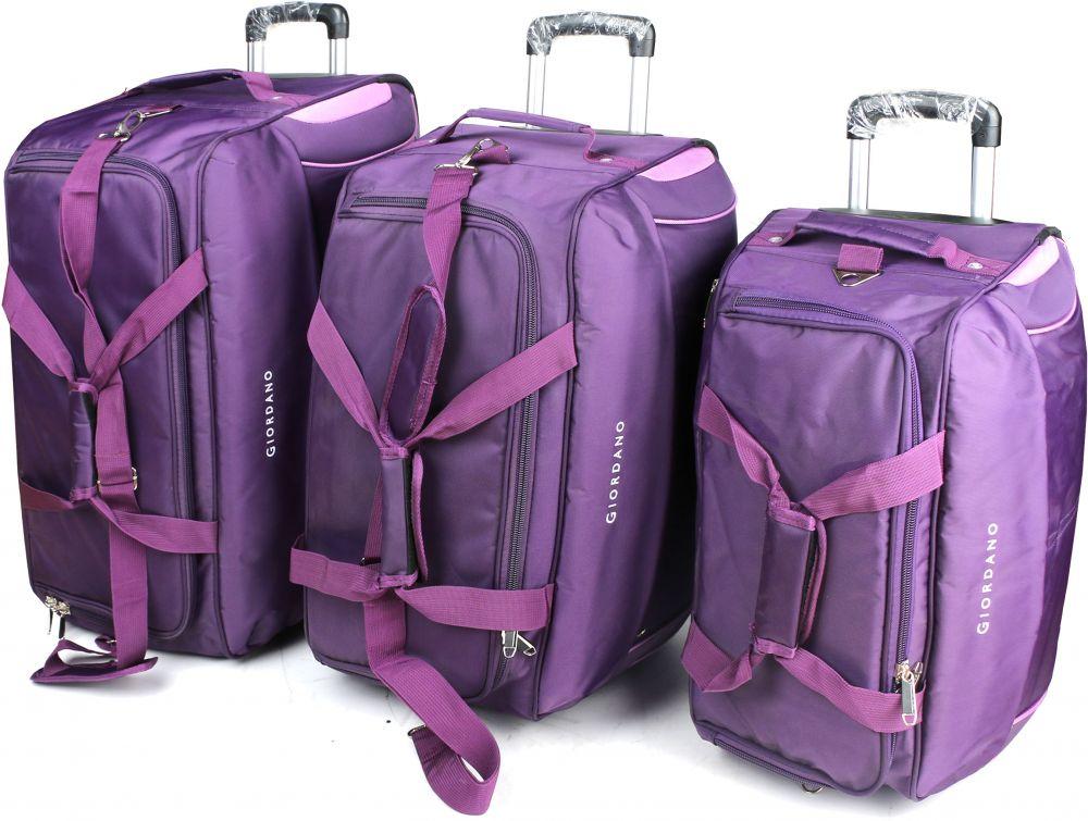 جيوردانو طقم حقائب سفر بعجلات للجنسين, 3 قطع - بوليستر , ارجواني