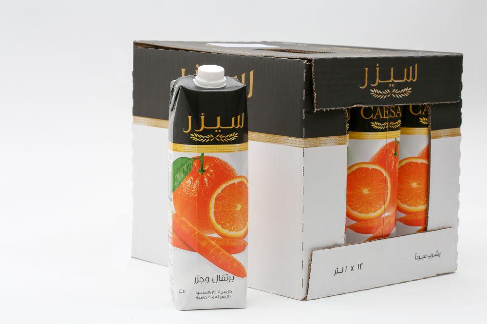 سيزر عصير برتقال وجزر 12 في 1 لتر