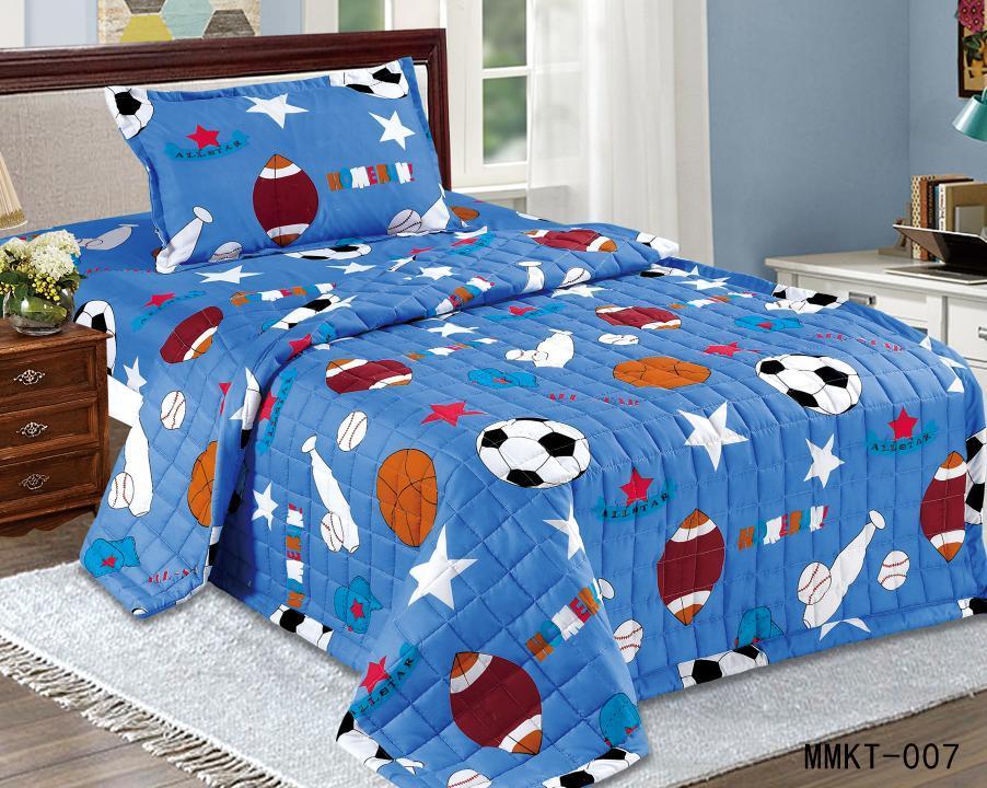 طقم لحاف اطفال مضغوط مفرش سرير 3 قطع ,مقاس مفرد لون ازرق
